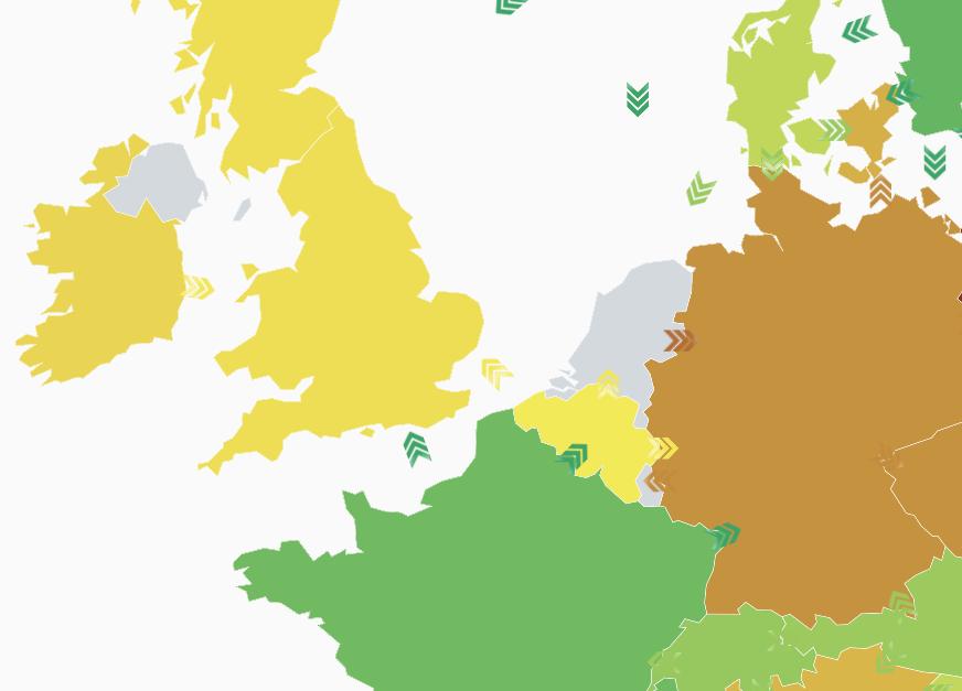 European green energy consul=mption map