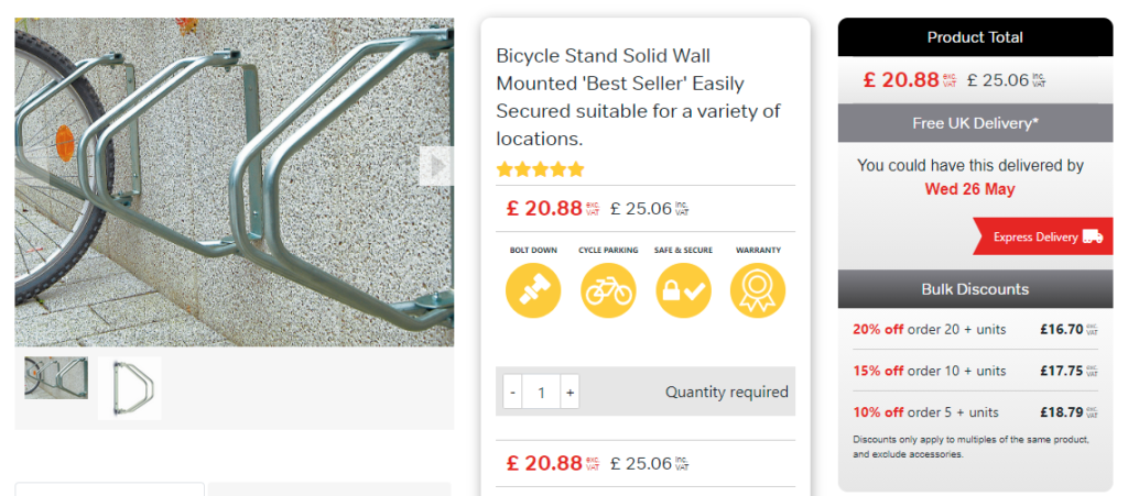 wall mounted bicycle fixture